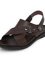 Sandály-Černá / Hnědá-Pánské boty-Běžné-Kůže