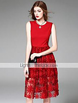 Women's  Going out Street chic Sheath Dress,Embroidered Round Neck Knee-length Sleeveless Blue / Red Polyester Summer