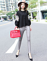 Boutique S Women's Going out Vintage Spring Set Pant,Solid Crew Neck Long Sleeve White / Black Cotton / Polyester Opaque