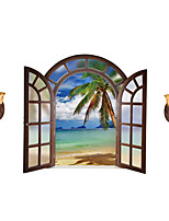 Wall Stickers Wall Decals Style Creative Coconut Beach PVC Wall Stickers