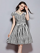 Women's Going out Street chic Loose Dress,Striped Round Neck Above Knee Short Sleeve Black Polyester Summer