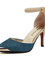 Women's Shoes Closed Toe,Patchwork,Hollow-Out Heel, Ankle Strap Pumps, Blue and Gold Colors Available