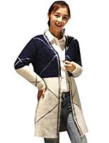 Women's Casual/Daily Simple Slim Hin Thin Long Cardigan,Color Block Blue / Gray Cowl Long Sleeve