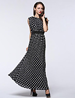 Women's Plus Size Boho Swing Dress,Polka Dot Round Neck Maxi Sleeveless Black Polyester Summer