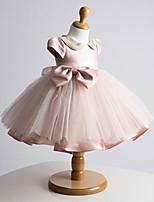 볼 드레스 숏 / 미니 플라워 걸 드레스 - 튤 짧은 소매 쥬얼리 와 리본 / 진주 디테일