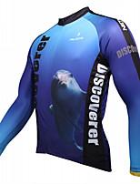 Esportivo Moto/Ciclismo Blusas Homens Manga Comprida Respirável / Resistente Raios Ultravioleta / Redutor de Suor Coolmax Animal AzulS /