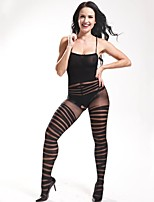 Women Sexy Stockings Exposed Breast  Perspective Black Stripes Printing Lingerie