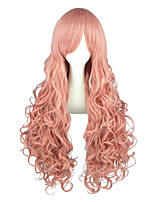 Cosplay Wigs Vocaloid Luca Pink Long / Curly Anime Cosplay Wigs 90 CM Heat Resistant Fiber Male / Female