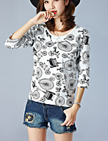 Women's Casual/Daily Simple Summer T-shirt,Print Round Neck ¾ Sleeve Sweet  White Cotton Thin