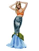 Costumes Mermaid Tail Halloween / Carnaval / Fête d'Octobre Doré / Argent / Bleu Vintage Térylène Robe