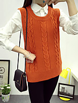 Women's Going out / Solid Blue / Red / White / Gray / Orange Round Neck Sleeveless Cotton Spring / Fall