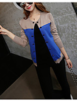 Women's Casual/Daily Simple Regular Cardigan,Striped Round Neck Long Sleeve Cotton Summer Medium