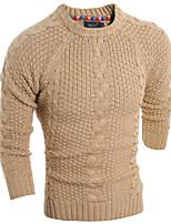 Men's Solid Casual Cardigan,Wool Long Sleeve Blue / Beige