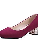 Damen-High Heels-Büro / Kleid / Lässig-Kunstleder-Blockabsatz-Absätze / Quadratische Zehe-Schwarz / Lila / Rot