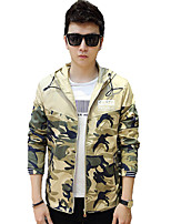 Men's Long Sleeve Casual / Work / Formal / Sport / Plus Sizes Jacket,Cotton Camouflage / Patchwork Blue / Yellow