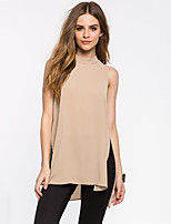 Women's Casual/Daily Simple Summer Blouse,Solid Crew Neck Sleeveless Red / Beige Polyester Medium