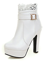 Черный / Белый-Женский-Свадьба / Для праздника / Для вечеринки / ужина-Дерматин-На толстом каблуке-На платформе / Ботинки / Модная обувь-