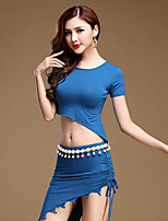 Belly Dance Outfits Women's Performance Modal 3 Pieces Black / Blue / Light Gray Short Sleeve Top / Belt / Skirt