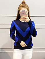 Women's Going out / Regular Pullover,Print Blue / Pink / Red / White / Black / Gray / Purple Round Neck Cotton Fall