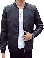 Men's Long Sleeve Casual / Work / Formal / Sport / Plus Sizes Jacket,PU Solid Black / Blue / Brown / Beige