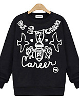 Women's Casual/Daily Vintage Regular Hoodies,Print Black / Gray Round Neck Long Sleeve Polyester Fall Medium