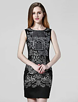 KLIMEDA  Women's Casual/Daily Vintage Shift Dress,Embroidered Round Neck Above Knee Sleeveless Polyester Summer