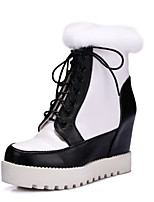 Women's Boots Fall / Winter Fashion Boots PU Outdoor Platform Lace-up Black and White Snow Boots