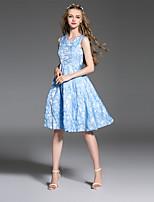 Damen Hülle / Swing Kleid-Ausgehen / Lässig/Alltäglich Retro / Einfach Solide / Geometrisch Gurt Midi Ärmellos Blau / Rosa Polyester