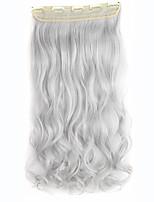 5clips clip de postizos de trenzado sintético en gris ondulado rizado de la armadura extensiones de cabello de plata