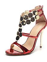 Mujer-Tacón Stiletto-Estilos / Puntiagudos / Talón Descubierto-Tacones / Sandalias-Boda / Vestido / Fiesta y Noche-PU-Rojo / Plata / Oro