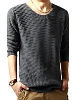 Herren Standard Pullover-Lässig/Alltäglich Einfach Solide Schwarz Grau Rundhalsausschnitt Langarm Wolle Frühling Herbst Mittel