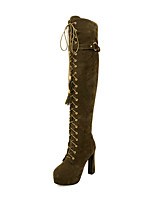Women's Boots Spring / Fall / Winter Platform / Fashion Boots Leatherette Wedding / Casual Chunky Heel Buckle / Lace-up