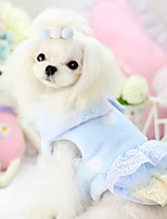 Dog Dress Blue Winter / Spring/Fall Stripe / Bowknot Casual/Daily, Dog Clothes / Dog Clothing