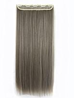 grampo em extensões do cabelo 60cm 5clips longo de calor reta pedaço de cabelo sintético extensão natural do cabelo resistente ciano
