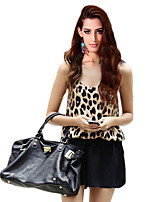 Women's Casual/Daily Sexy Summer Blouse,Leopard Strap Sleeveless Brown Special Leather Types Opaque