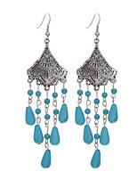 Bohemian Fashion Trendy Vintage Sector Shape Tibetan Silver Turquoise Drop Dangle Earrings Jewelry