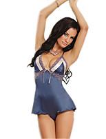 Damen Besonders sexy Nachtwäsche,Sexy Patchwork-Polyester Mittelmäßig Blau Damen