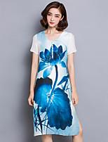 Women's Plus Size Vintage A Line / Loose Dress,Floral V Neck Knee-length Short Sleeve Blue / Red Silk Summer