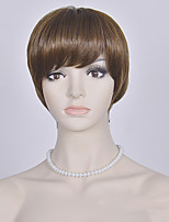 peluca corta de Europa y América las mujeres pelucas rectas marrones de moda las pelucas sintéticas cortas