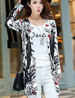 Women's Casual/Daily Simple Long Cardigan,Print Black V Neck Long Sleeve Polyester Summer Thin