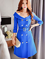 Women's Going out / Work / Holiday Cute / Street chic / Sophisticated Dress,Solid Boat Neck Knee-length ¾ Sleeve
