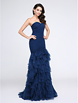 TS Couture® Formal Evening Dress Fit & Flare Sweetheart Sweep / Brush Train Tulle with Tiers / Criss Cross / Ruching