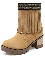 Women's Shoes Fashion Boots / Round Toe Boots Office & Career / Dress / Casual Chunky Heel Beading / Sparkling