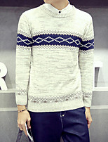 Men's Solid Casual Pullover,Cotton / Polyester Long Sleeve White