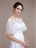 Women's Wrap Shawls Sleeveless Lace / Tulle Ivory Wedding / Party/Evening Bateau Pearls / Rhinestone / Tassels Clasp