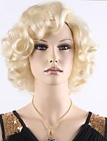 sexy ladies europe courte chaleur blonde perruque frisée perruques synthétiques résistantes