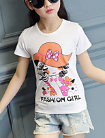 Girl's Casual/Daily Solid Tee,Cotton Summer White