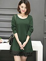 Women's Going out / Plus Size Cute T Shirt Dress,Solid Round Neck Above Knee Long Sleeve Black / Green Cotton Spring / Fall Mid Rise
