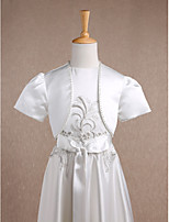 Kids' Wraps Shrugs Short Sleeve Satin Ivory Wedding / Party/Evening Wide collar Beading Open Front