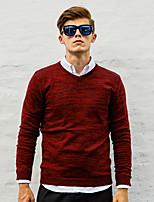 WILSHEMON® Men's V Neck Long Sleeve Sweater & Cardigan Burgundy / Light Gray / Fuchsia / Dark Gray-WS16C16702